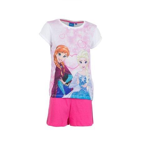FROZEN - Conjunto Camiseta y Pantalón Elsa y Anna Junior Blanco/Fucsia