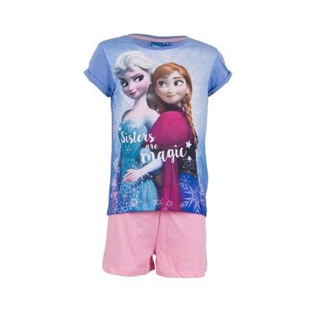 FROZEN - Conjunto Camiseta y Pantalón Corto Junior Lila/Rosa