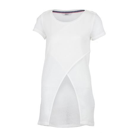 ONLY - Camiseta larga Uneven Top Mujer Blanco Roto