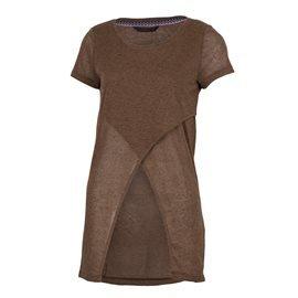 ONLY - Camiseta larga Uneven Top Mujer Marrón Claro