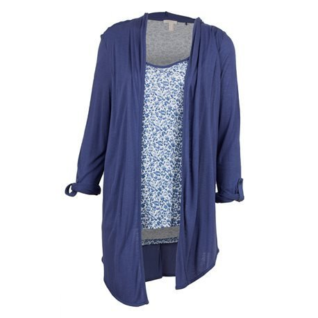 ESPRIT - Women's Collared Open Cardigan Pullover. Blue/ White