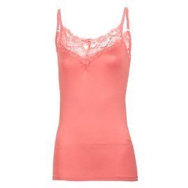 ONLY - Women's Strap Top with Lace Details. Coral