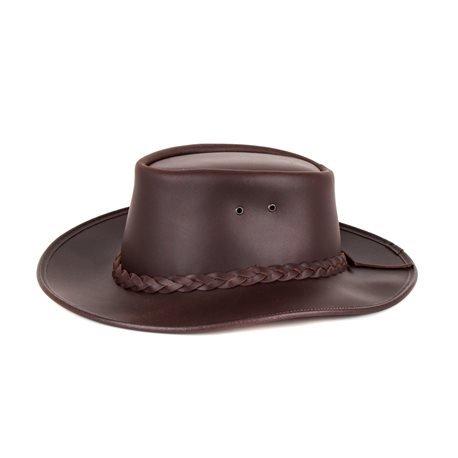 MORGADO - Greased Cowboy Leather Hat. Brown