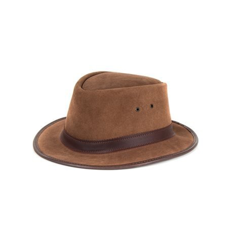 MORGADO - Split Leather Hat. Brown