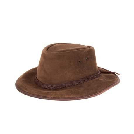 MORGADO - Split Cowboy Leather Hat. Brown