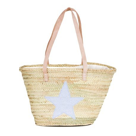 IBIZA - Small Size Beach Basket Star Sequins. White