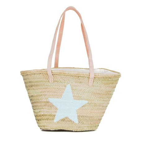 IBIZA - Medium Size Beach Basket Star Sequins. Blue