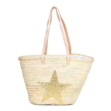 IBIZA - Medium Size Beach Basket Star Sequins. Golden