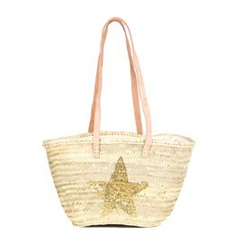 IBIZA - Small Size Beach Basket Star Sequins. Golden