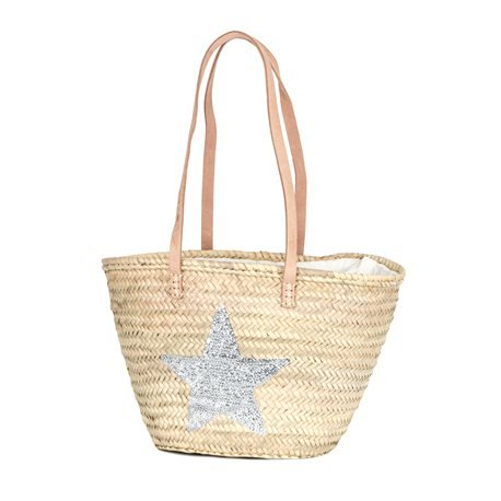 IBIZA - Small Size Beach Basket Star Sequins. Silver