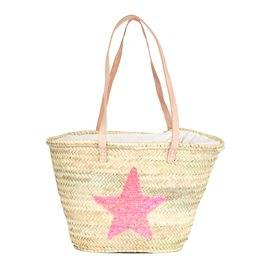 IBIZA - Small Size Beach Basket Star Sequins. Pink