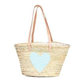 IBIZA - Small Size Beach Basket Heart Sequins. Blue