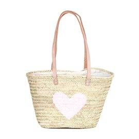IBIZA - Small Size Beach Basket Heart Sequins. Pink