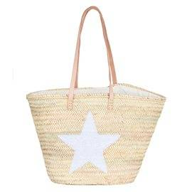 IBIZA - Medium Size Beach Basket Star Sequins. White