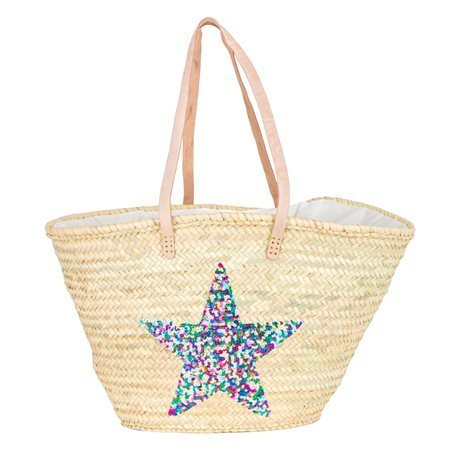 IBIZA - Medium Size Beach Basket Star Sequins. Multicolour