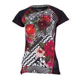 DESIGUAL - Camiseta manga corta FR TS Short Sleeve B Mujer Blanco/Negro/Floral