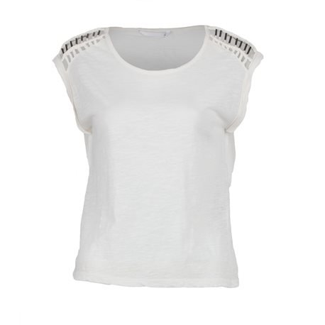 ONLY - Women's Short Sleeve Top with details on Shoulders. Off - White