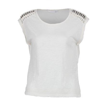 ONLY - Camiseta de manga corta Detalles en hombros Mujer Blanco Roto