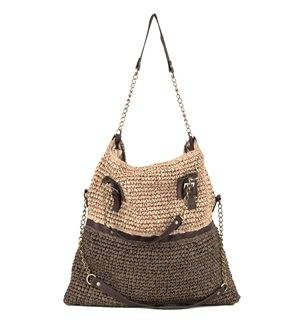 INCAMERA - Two - Positions Summer Bag with Polyskin Handles. Brown