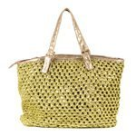 INCAMERA - Large Size Summer Bag with Polyskin Handles. Golden