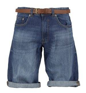 ESPRIT - Men's Denim Bermuda Shorts with Belt. Blue