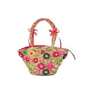 INCAMERA - Capazo pequeño Flores Beige/Rojo