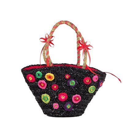 INCAMERA - Small Beach Basket Flowers. Black/ Red