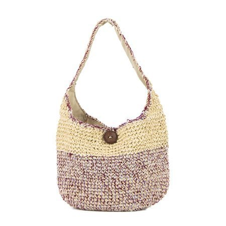 INCAMERA - Summer Handbag. Beige/ Burgundy