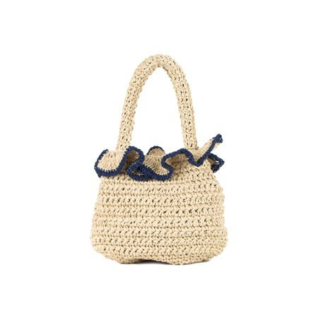 INCAMERA - Summer Handbag. Beige/ Navy Blue