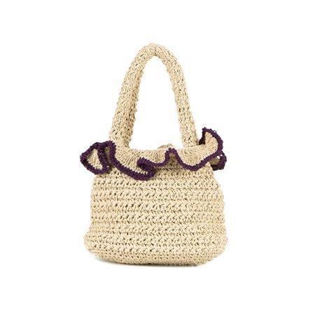 INCAMERA - Summer Handbag. Beige/ Purple