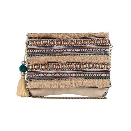 SITARA - Bolso Textil Étnico Beige