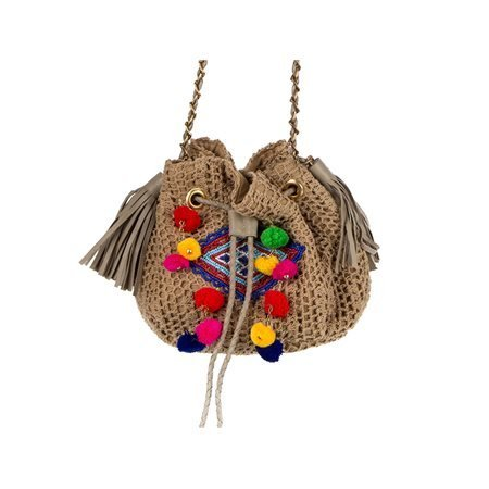 SITARA - Pompom Textile Bag. Beige