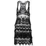 MERHABA IBIZA - Vestido de tirantes estilo ibicenco Crochet Mujer Negro