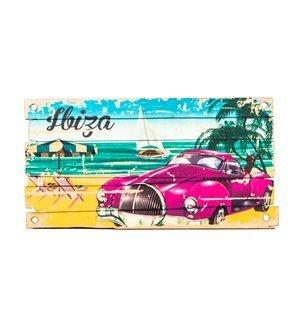 IBIZA - Placa de madera Beach Car