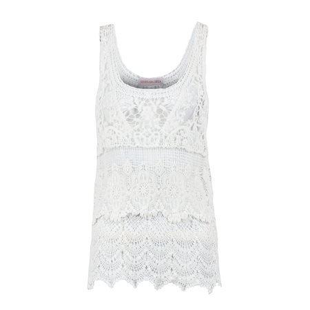 MERHABA IBIZA - Top de tirantes estilo ibicenco Crochet Mujer Blanco