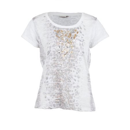 LOSAN - Camiseta de manga corta Lentejuelas Blanco/Dorado