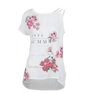 EDC - Women's more Summer Uncovered Shoulder T - Shirt. White