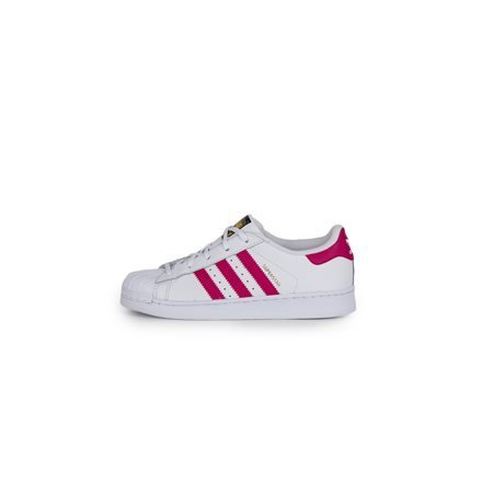 adidas Originals - Zapatillas blancas y fucsias Superstar Foundation C Niña
