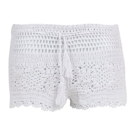 MERHABA - Shorts de Ganchillo Mujer Blanco