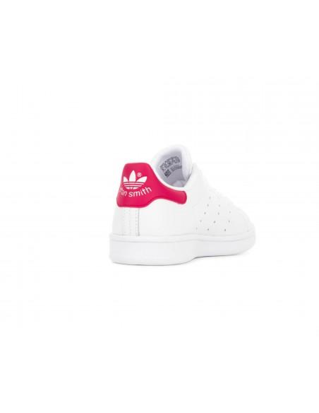 adidas Originals - Zapatillas blancas y fucsias Stan Smith Niña